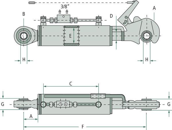 Schéma třetího bodu hydraulického kat. 2-2