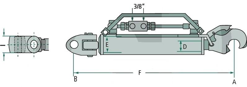 Schéma třetího bodu hydraulického kat. 3-2