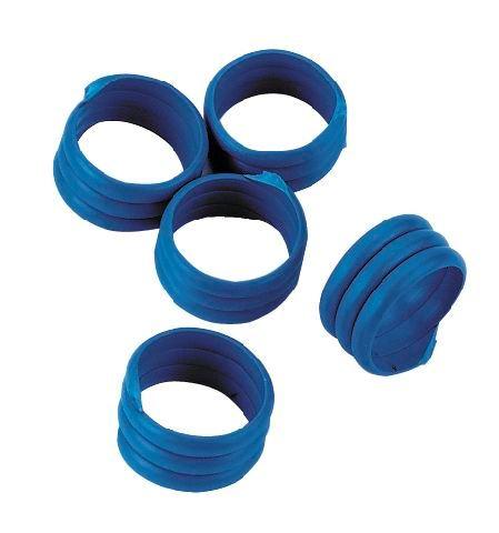 Spirálové kroužky na bažanty, perličky a kuřata 12 mm modrý 20 ks