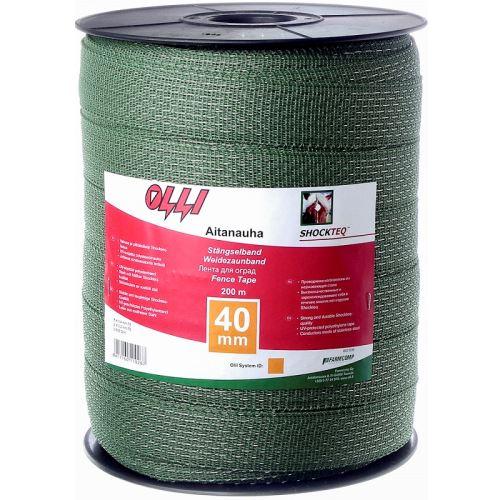 Zelená vodivá páska Shockteq OLLI 40 mm/200 m pro elektrický ohradník