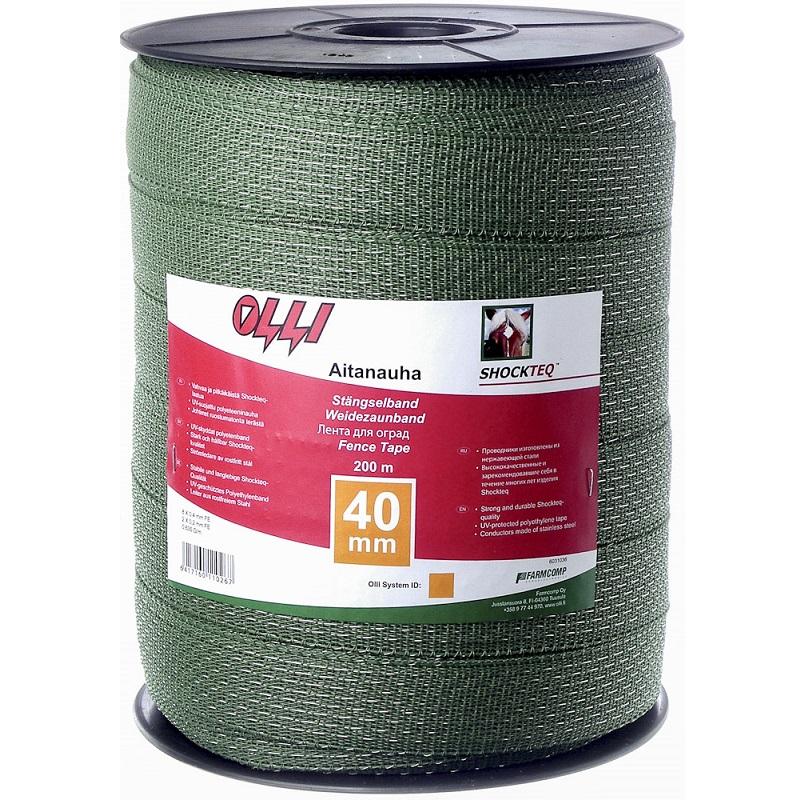 Zelená ohradníková páska SHOCKTEQ OLLI 40 mm/200 m vyztužené okraje odpor 0,48 Ohm/m