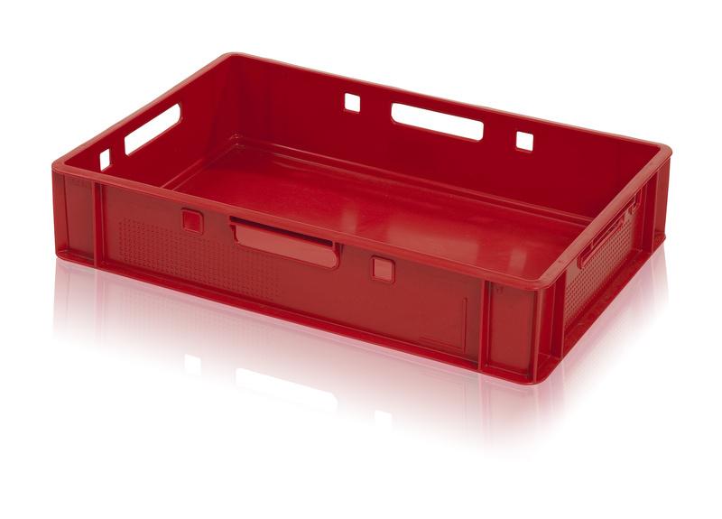 Hygienická plastová přepravka na maso a potraviny E1 nízká, nosnost 20 kg