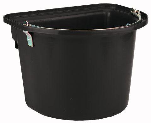Vědro plastové krmné a napájecí s držadlem a úchyty 12 l černé pro koně