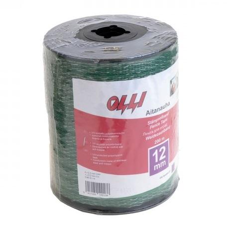 Zelená ohradníková páska SHOCKTEQ OLLI 12 mm/200 m vyztužené okraje odpor 0,86 Ohm/m