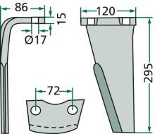 Hřeb do rotačních bran pravý vhodný pro Niemeyer