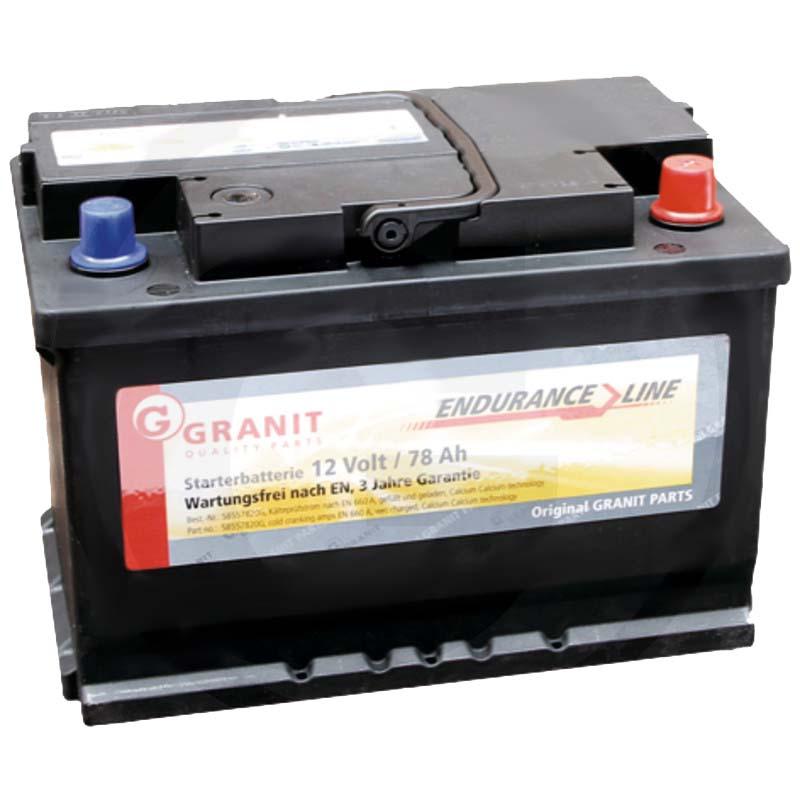 Autobaterie 12V 78Ah Granit bezúdržbová do auta, traktoru startovací proud 660A, 0/1