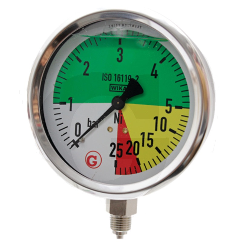 Glycerinový tlakoměr, manometr Wika přípoj 1/4″ spodní průměr 100 mm pro postřikovače 0-25