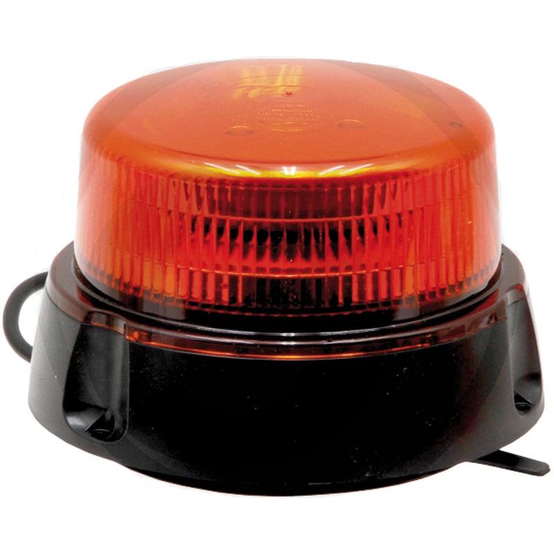 LED maják oranžový výstražný 12V/24V 12 LED diod 14W nízká konstrukce našroubování