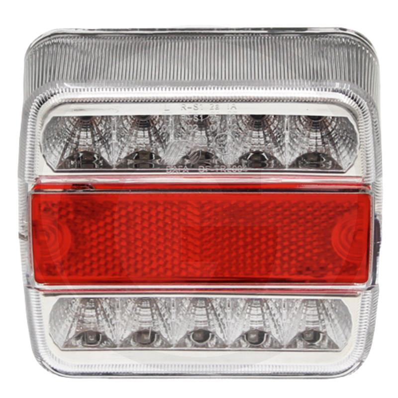 LED zadní světlo 12V levé a pravé koncové, brzdové, směrové čtvercové osvětlení SPZ