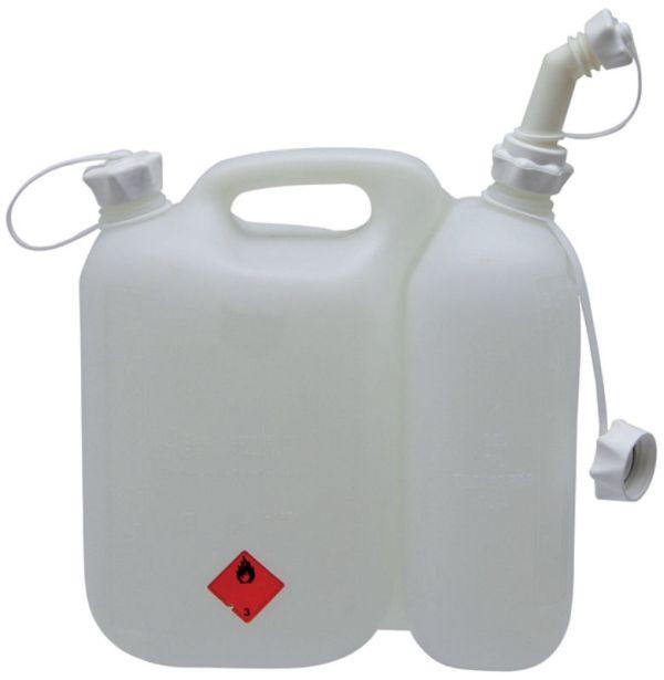 Kombinovaný kanystr na 5,5 l benzínu a 3 l řetězového oleje bílý profi pro dřevorubce