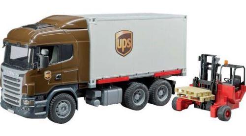 Bruder - Scania R-série nákladní auto s výměnným kontejnerem UPS a destou
