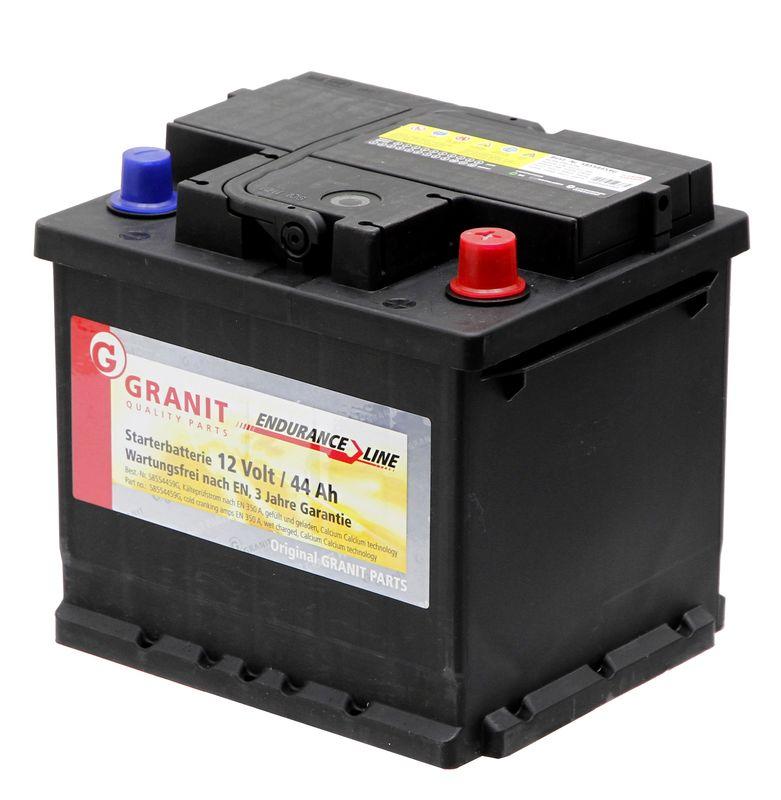 Autobaterie 12V 44Ah Granit bezúdržbová do auta, traktoru startovací proud 420A, 0/1