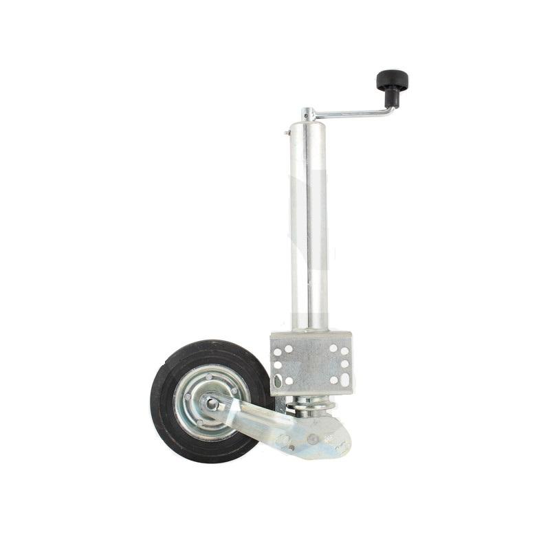 Opěrné kolečko k přívěsu, přívěsnému vozíku nosnost 250 kg trubka 60 mm sklopné, s klikou