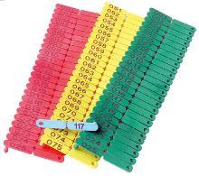Ušní značky Ovitag pro selata, ovce a kozy 001-100 a 101-200 různé barvy