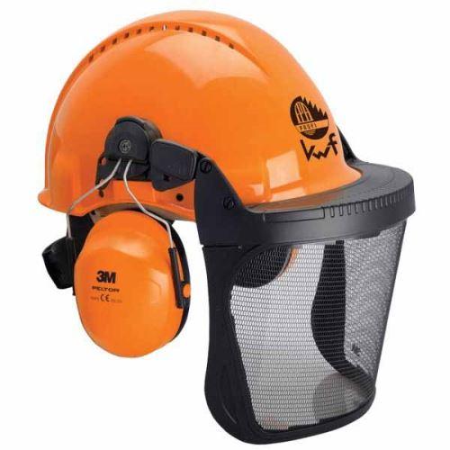 Dřevorubecká helma 3M G3000 v kombinaci se sluchátky a ochranným štítem