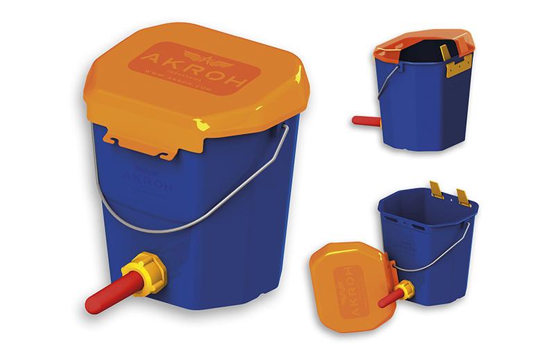Víko pro napájecí kbelík pro telata s dudlíkem 10 l, průhledné