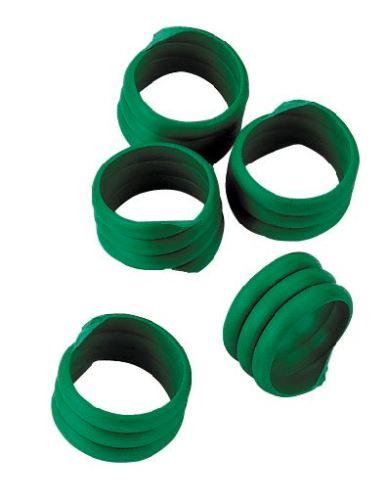 Spirálové kroužky na husy a krůty 18 mm zelený 20 ks