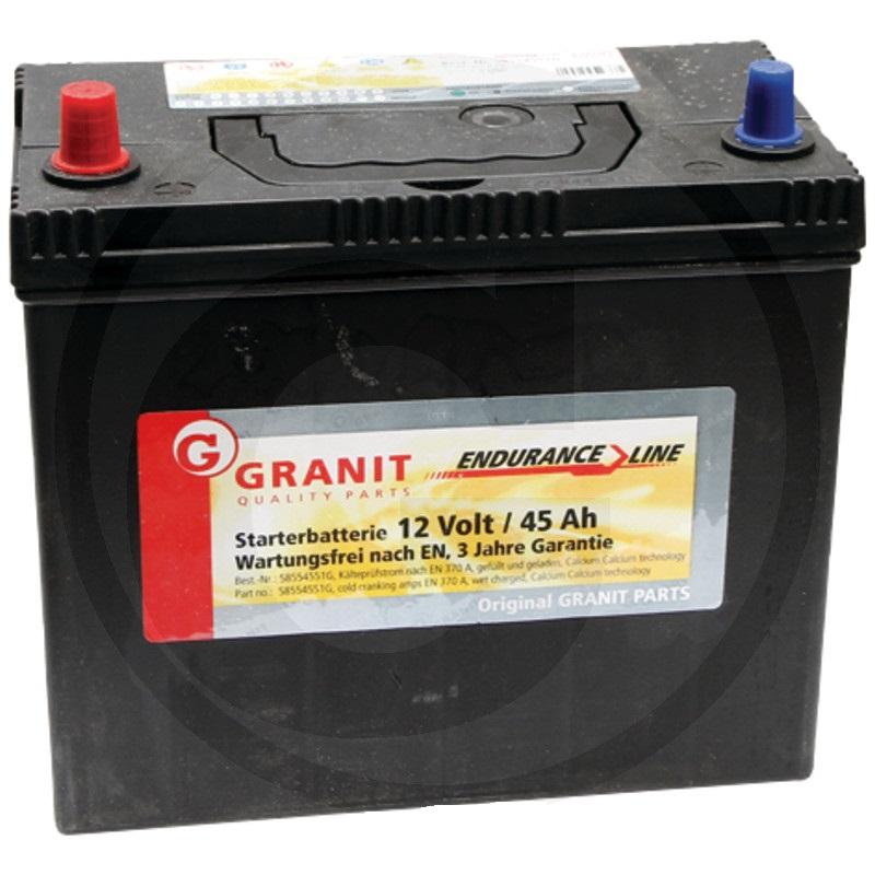 Autobaterie 12V 45Ah Granit bezúdržbová do auta, traktoru startovací proud 370A, 1/3