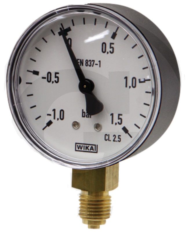 Vakuový tlakoměr, manometr Wika pro fekální vozy průměr 63 mm přípoj dolní suchý 1/4″