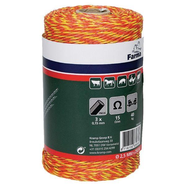 Klasické ohradníkové lanko FARMA oranžovo-červené polyetylénové 2,5mm/250 m 15 Ohm/m