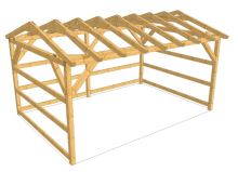 Pastevní přístřešek pro koně a skot dřevěný 4 x 6 m konstrukce nehoblované řezivo
