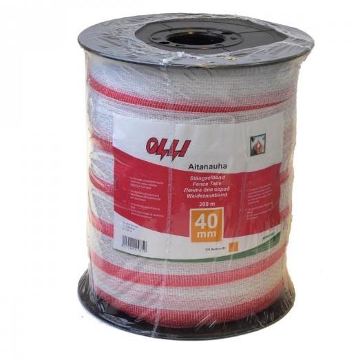 Červeno-bílá ohradníková páska OLLI 40 mm/200 m odpor 0,73 Ohm/m