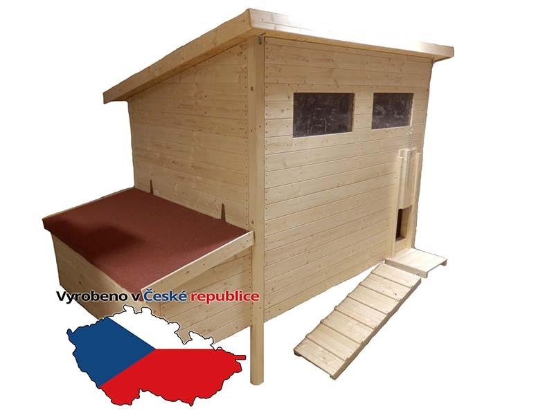 Zateplený dřevěný kurník pro slepice Blansko český truhlářský výrobek pro 15-20 slepic