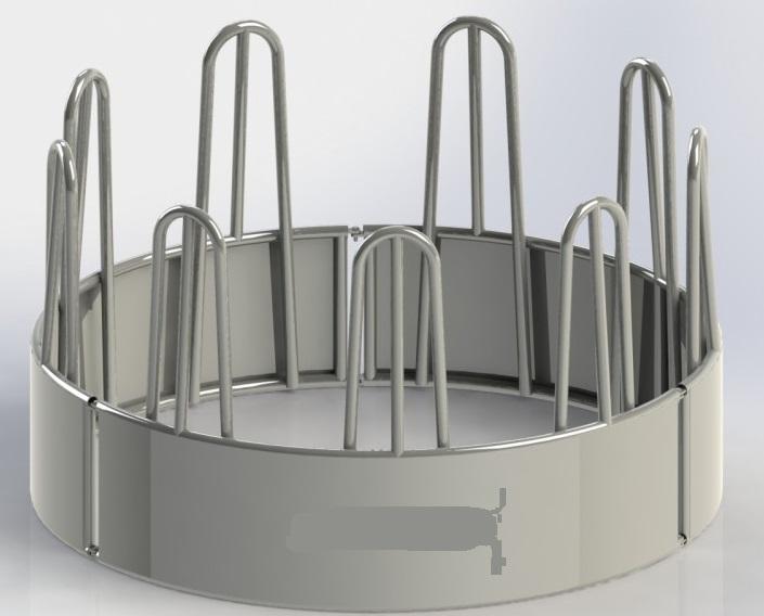 Krmelec na seno kruhový pro koně a skot 3-dílný 9 míst průměr 240 cm příkrmiště na balíky