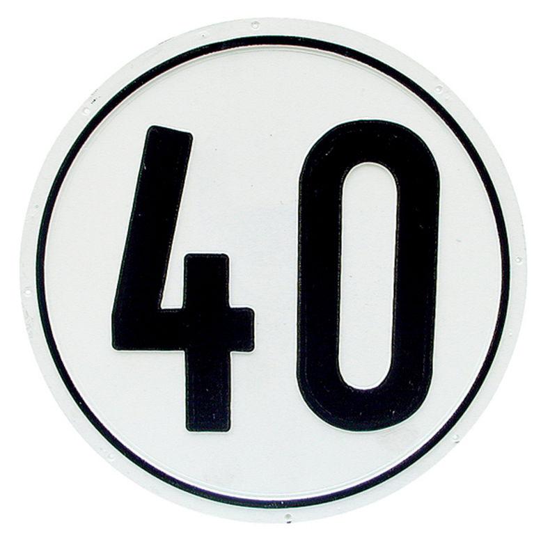 Samolepka omezení rychlosti 40 km/h průměr 200 mm bílá černé písmo
