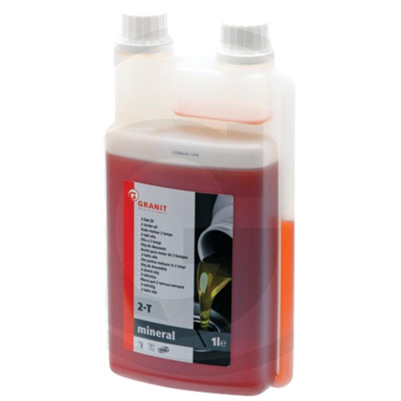 Olej pro dvoutaktní motory Granit 2T 1 l dávkovací láhev samosmísitelný minerální červený