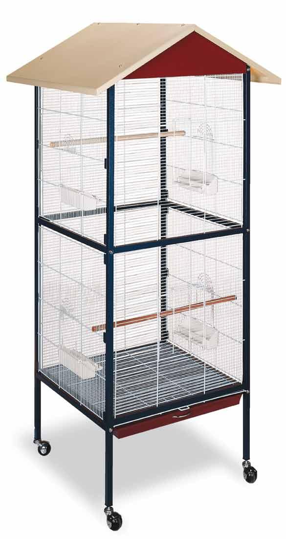 Voliéra Julia pro ptáky, papoušky, andulky 600 x 600 x 1670 mm na kolečkách se stříškou