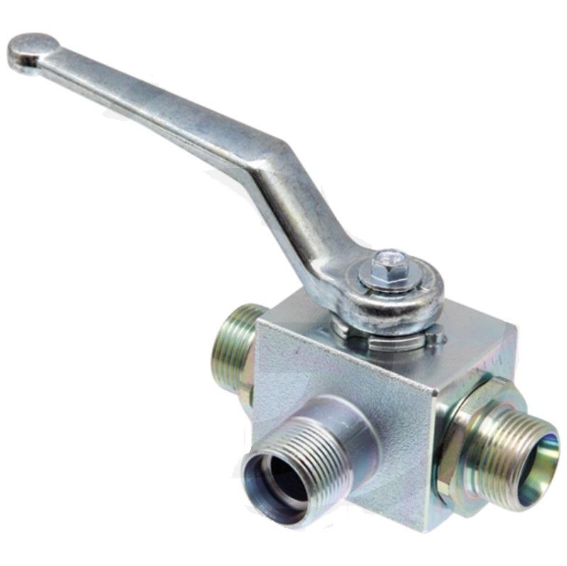Hydraulický kulový kohout s L-vývrtem pro trubku BKH-3L-10L DN8 M16 x 1,5