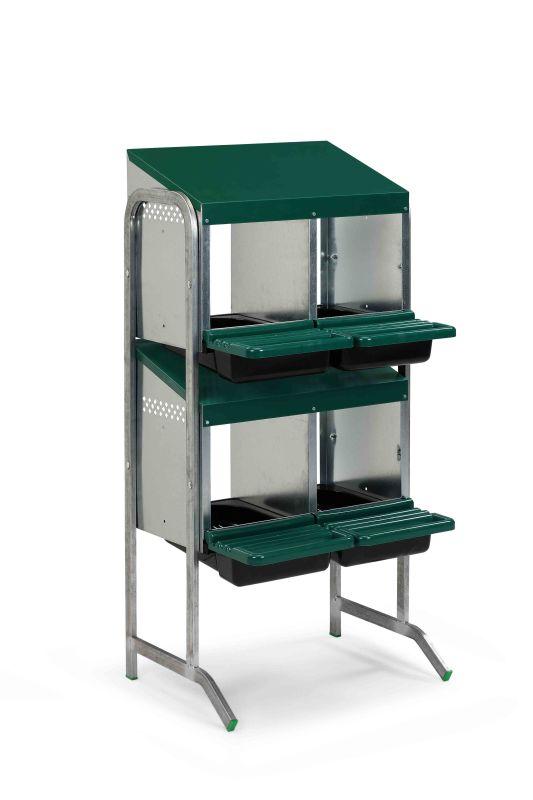 Baterie kukaní pro slepice 4-místná GAUN s plastovým víkem 2 kukaně ve 2 patrech