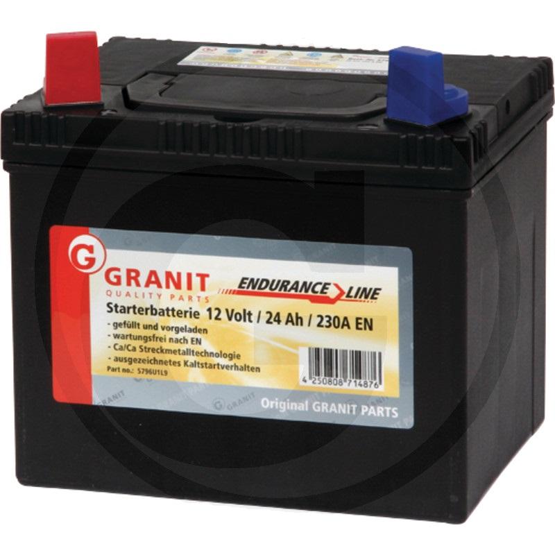 Autobaterie 12V 24Ah Granit bezúdržbová do zahradních sekaček startovací proud 250A, 1