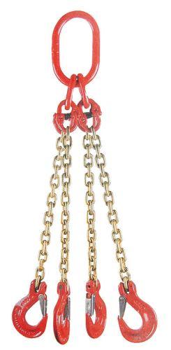 Jeřábový řetěz G8 čtyřpramenný síla 10 mm délka 1 m s okem a háky