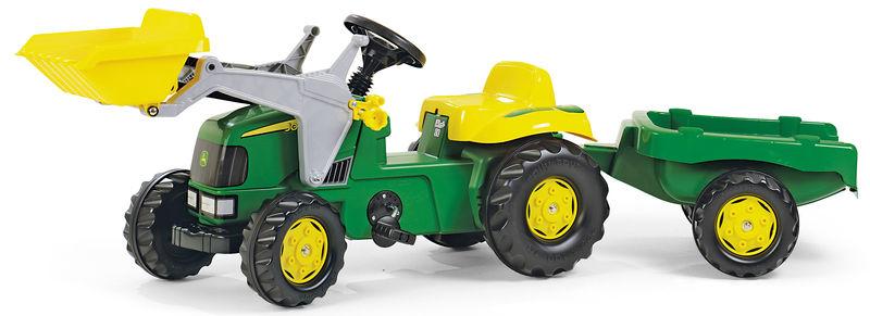 Rolly Toys - šlapací traktor John Deere s vozíkem a čelním nakladačem Rolly Kid