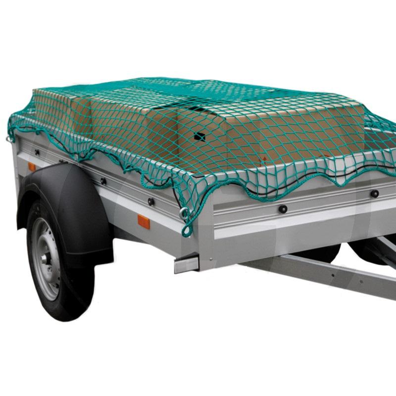 Ochranná síť pro přívěsy, přívěsné vozíky 2,7 x 1,5 m k zajištění nákladu oka 30 mm zelená