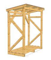 Dřevník, přístřešek na dřevo dřevěný na 4 prm dřeva 1 x 2 m konstrukce nehoblované řezivo
