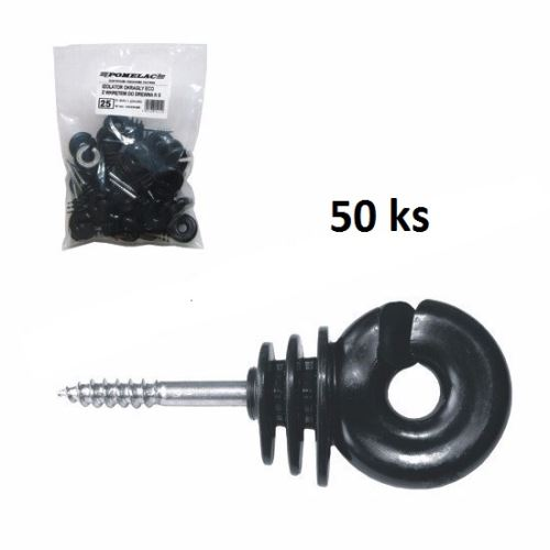 Kruhové izolátory EKOnom s vrutem 5 mm pro elektrický ohradník balení 50 ks