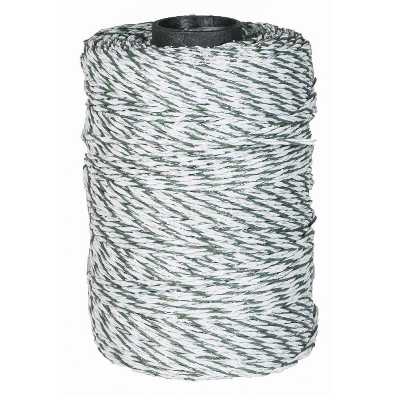Ohradníkové lanko Olli BASIC Line 2 mm/250 m polyetylenové zeleno-bílé odpor 7,76 Ohm/m
