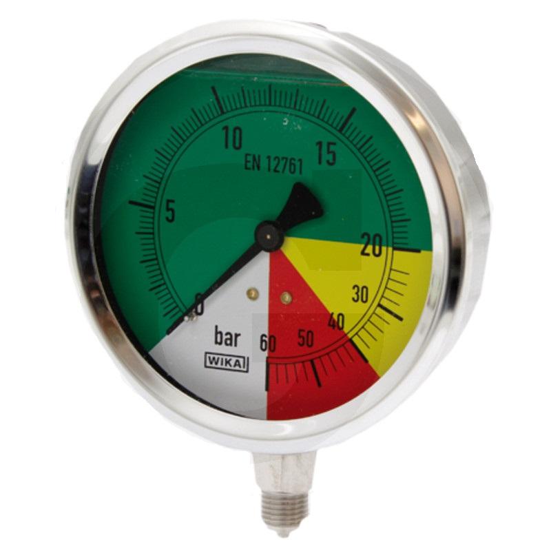 Glycerinový tlakoměr, manometr Wika přípoj 1/4″ spodní průměr 100 mm pro postřikovače 0-60