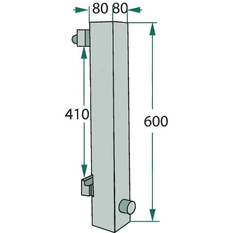 Držák hrotu FEM 2, ISO 2 bez hrotů výška 600 mm, šířka 80 mm, hloubka 80 mm