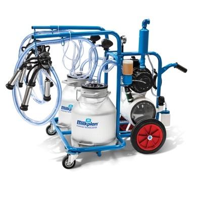 Mobilní dvoukonvové dojící zařízení Milkplan pro dojení krav s vozíkem, vývěvou 350 l/min