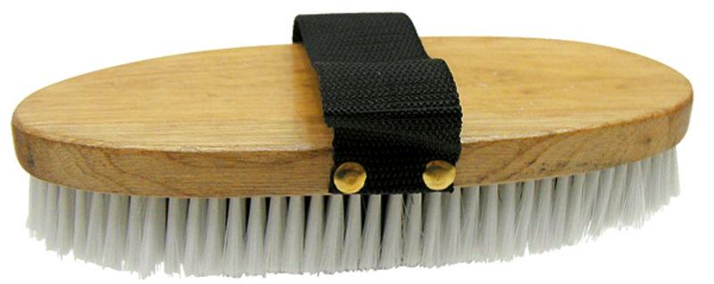Kartáč dřevěný, štětiny PVC mix, s poutkem na čištění koní a dobytka