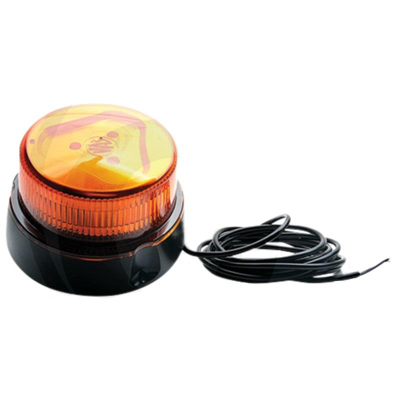 LED maják oranžový výstražný 12V/24V 12 LED diod 14W nízká konstrukce magnetická pata