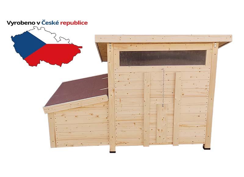 Zateplený dřevěný kurník pro slepice Vranov český truhlářský výrobek pro 5-12 slepic