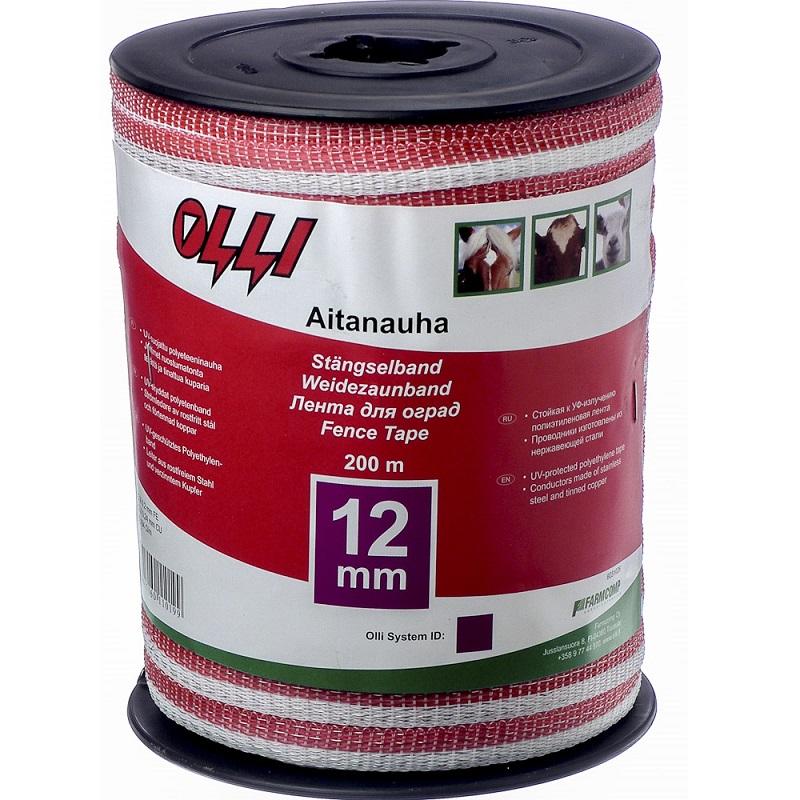 Červeno-bílá ohradníková páska OLLI 12 mm/200 m odpor 0,58 Ohm/m