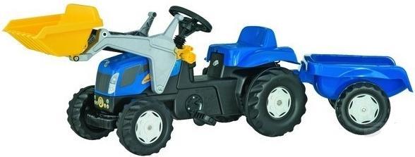 Rolly Toys - šlapací traktor New Holland TVT 190 s vozíkem a čelním nakladačem Rolly Kid