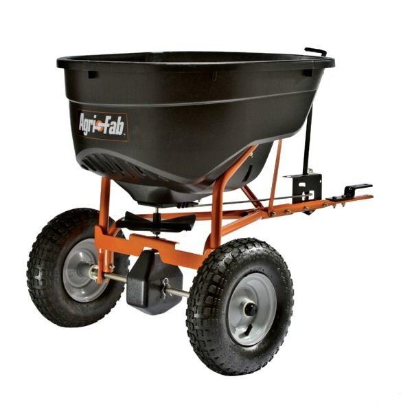 Tažené zahradní rozmetadlo hnojiv Agri-Fab na 60 kg za čtyřkolku, zahradní traktor