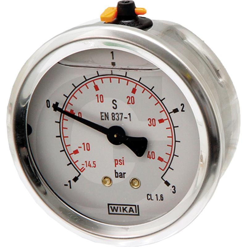 Glycerinový tlakoměr, manometr Wika přípoj 1/4″ zadní průměr 63 mm pro fekální vozy